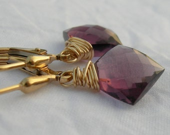 Plummy Purple Quartz Gold Fill Earrings
