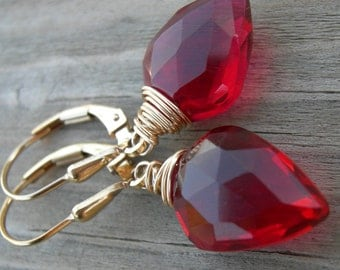 Ruby Red Quartz Gold Wire Wrapped Earrings