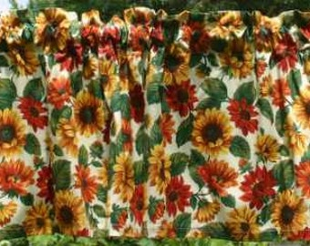 Sunflowers Floral Wildflower Yellow Green Natural Sunflower Curtain Valance NEW