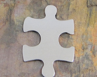 "5 Deburred 18G Aluminum 1 1/4"" x 1"" PUZZLE PIECE Stamping Blanks Autism Awareness"