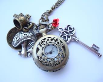 Alice in Wonderland Pocket Watch Charm Necklace
