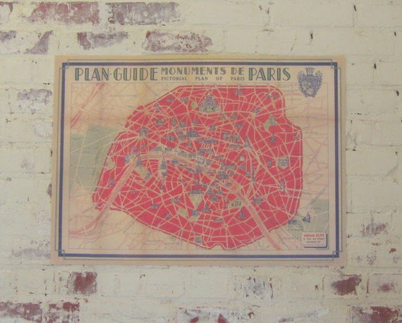 Vintage Style Red Paris Map Decorative Wrap and Craft Paper by Cavallini