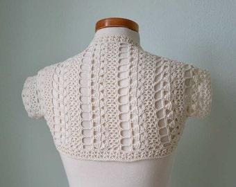 Crochet lace shrug bolero, Ivory,   H767