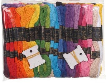 100 pk 8 Meters each Cotton Craft - Embroidery Thread with 12 Bobbins fnt