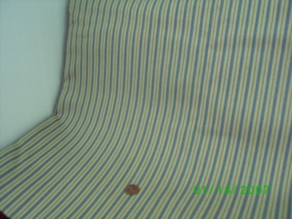 Heavy Weight Cotton Ticking Blue & Green Stripe on Taupe  18 x 28