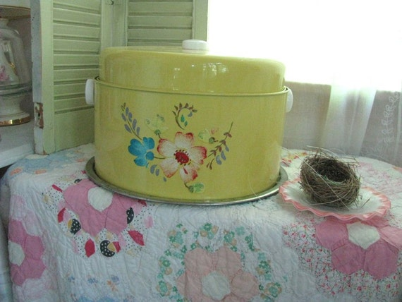 Treasury Item - Vintage Cake and Pie Tin - Yellow with Floral Toleware