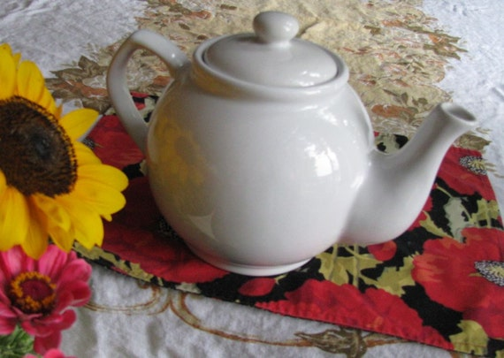 Vintage Ceramic Teapot Large 10 Cup White - Shabby Prairie Cottage