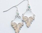 Silver and Lab Garnet Cab Romantic Classic Dangle Earrings