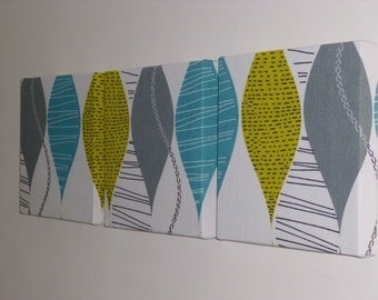 Set Of 3 Contemporary Modern Designer Retro Print Design Teal Mustard Gray Grey Print Wall Hanging Canvases Wall Art Wall Decor NEW FABRIC