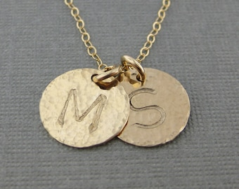 Hand stamped GOLD Filled Initial Jewelry / Personalized necklace (NI008)