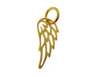 Add a 24K Gold Plated Sterling Silver Tiny Angel or Bird Wing Pendant (AO047)