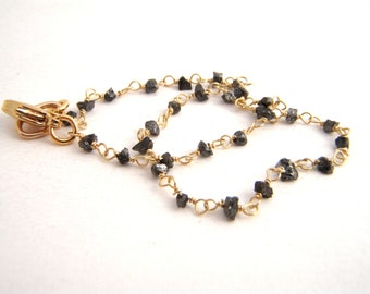 Rough Cut Black Diamond Bracelet, Rosary Style, April Birthstone, Wire Wrapped, Gold, Black