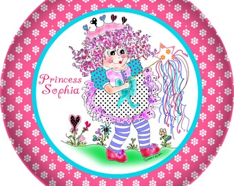 Personalized Melamine princess dinnerware plate by Rosanna Hope for Babybonbons