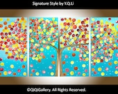 "Large acrylic landscape painting Impasto abstract tree painting ""My Sunshine"" by QIQIGALLERY"