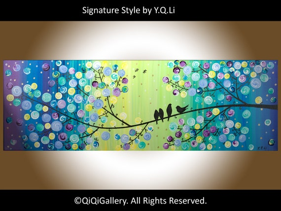 """36"""" Original Modern Abstract Heavy Texture Impasto Metallic Painting Landscape Tree Branches Wall Décor """"The Evening Show"""" by QIQIGALLERY"""