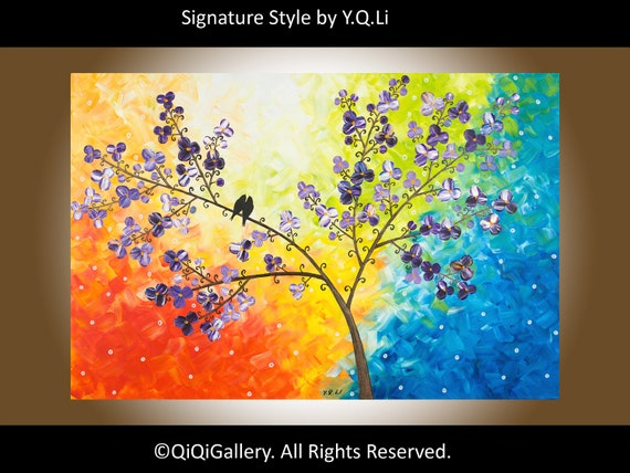 "Boxing Day Sale Abstract Painting Heavy Texture Impasto Palette Knife Landscape Tree ""Sunset, Love Birds and Cherry Blossom"" by QIQIGALLERY"