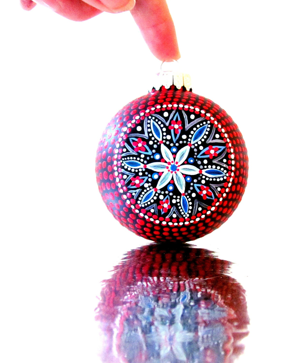 Christmas ornaments red hand painted ornament
