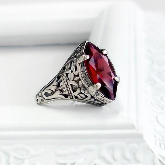 Antique Garnet Ring: Sterling Silver and Rhodolite Garnet - size 6, red marquise gemstone, vintage setting, intricate detail