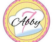 Set of 24 round baking chef Birthday Party Stickers Favor Tags