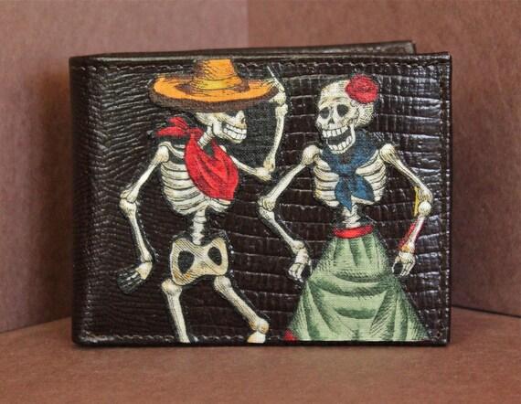 Chocolate Dark Brown LEATHER Bifold WALLET Day of the Dead Dia De Los Muertos SKELETON Couple Dancing