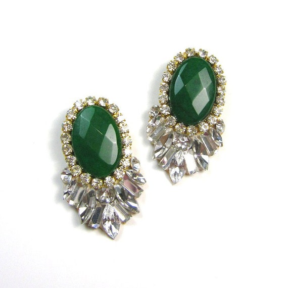 Statement earrings Emerald Jade Jewel gemstone sawrovski crystal statement stud earrings