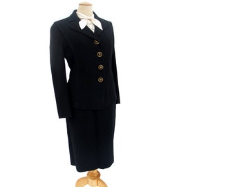 Vintage Ladies Suit 40s Black Wool Fitted Jacket Pencil Skirt Star Button size Large Vintage Forties Clothing