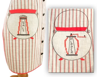 Vintage 1950s Apron Handmade Applique Embroidery Mens Gift size Large XL Oversized Full Butcher Style Embroidered Cross Stitch Striped
