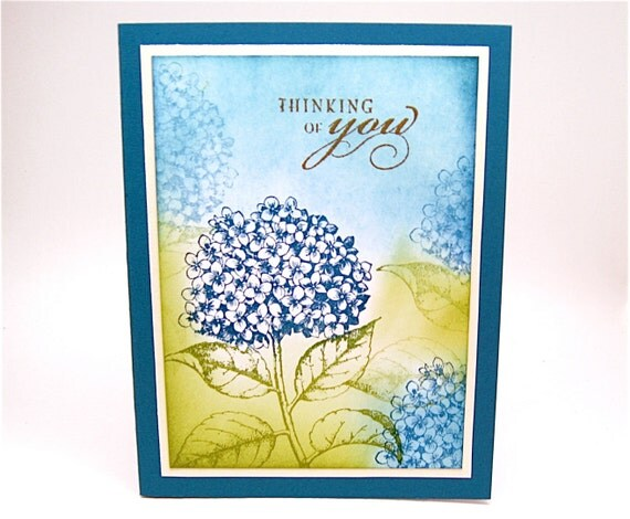 thinking of you card - blue hydrangea flowers greeting card