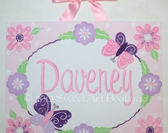 Lavender purple pink Flowers butterfly Custom canvas name sign wall art baby nursery kids painting decor painting children personalized