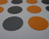 Hallowe'en pumpkin orange and charcoal black - packaging circle sticker envelope seals - halloween decoration mixed bag with scalloped edge