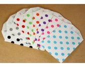 CLEARANCE - Your Color Choice - Little Bitty Bags Polka Dot Paper Treat Bags - Qty 10