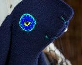RESERVED Kyra the Midnight bunny girl in silky recycled midnight blue extra fine merino