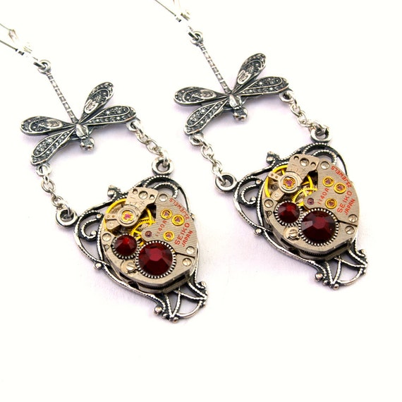 Steampunk Earrings - Lush DRAGONFLY Vintage Clockwork Design & Siam Red Swarovski Crystals All Steampunk Jewelry PROMPTLY SHIPPED