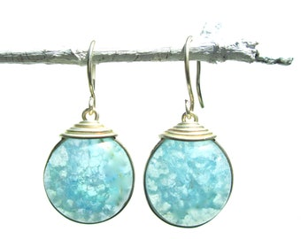 light blue fried glass earrings with silver