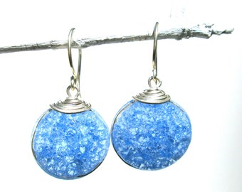periwinkle blue fried glass earrings with silver