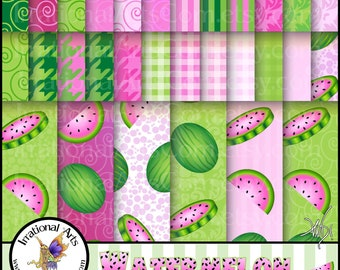 Watermelon set 1 INSTANT DOWNLOAD of 31 jpg files digital  papers pretty pink and green watermelons and coordinating patterns