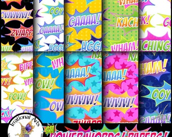 Super Hero Power Words Papers Set 1 - 10 digital papers in Pink, Blue & Yellow {Instant Download}