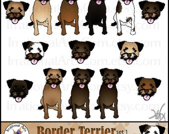 Border Terrier Dog Graphics set 1 - 14 digital graphics of 7 adorable dogs and 7 faces {Instant Download}