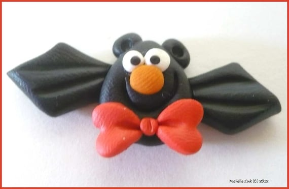New Polymer Clay Bead or Bow Center Red Bowtie Bat