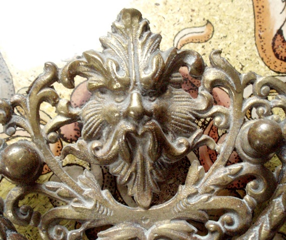 RESERVE FOR LEE Victorian Gargoyle Solid Brass Decorative Drawer Pull    Antique