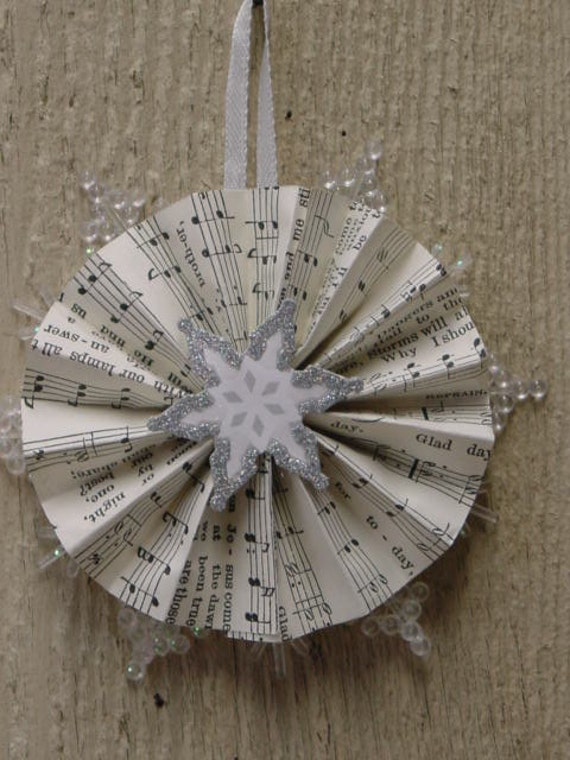 PAPER ROSETTE SNOWFLAKES / set of 11 handcrafted Christmas ornaments or gift tags / silver snowflakes / Xmas decor / snowflakes decor