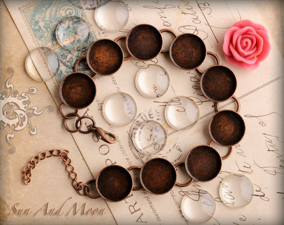 Round Bracelet Blanks with Glass - Choose Your Color- Shiny Silver, Antique Bronze, Vintage Copper, or Gunmetal Bezels with Chain and Clasp