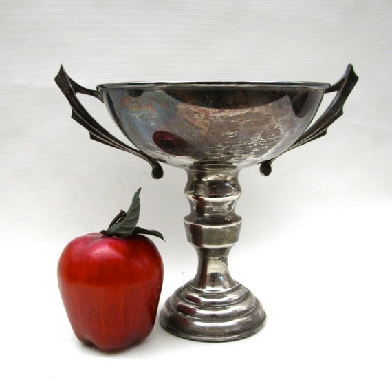 Large Silver Plate Vintage Trophy Loving cup Art Deco handle