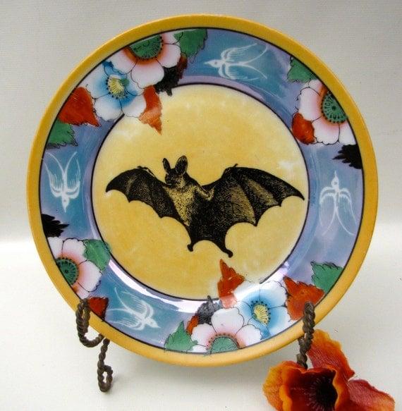 Halloween Vampire Bat on Art Deco style porcelain altered vintage dish plate