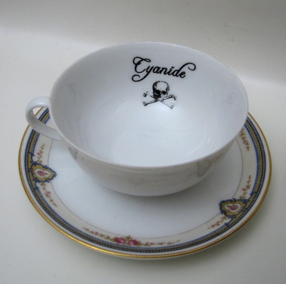 RESERVED Gothic Poison tea cup and saucer Vintage altered plate Chase and Scout Cyanide