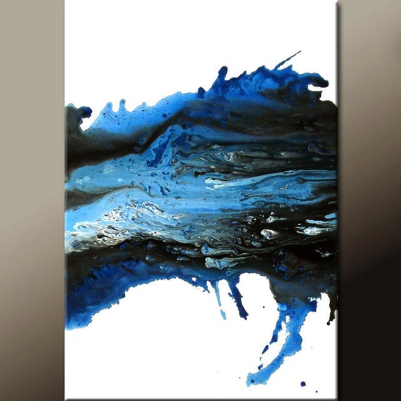 Blue Abstract Canvas Art Painting Original 24x36 Contemporary Wall Art Paintings  by Destiny Womack - dWo  - Waves of Emotion