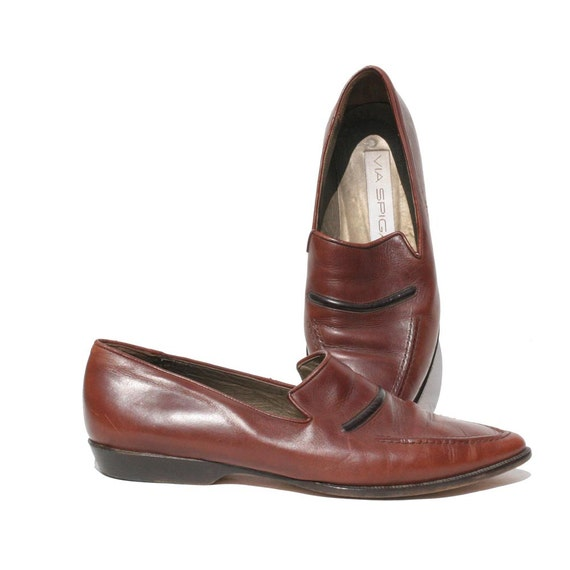 Italian Brown Leather Slip on Loafers size 8