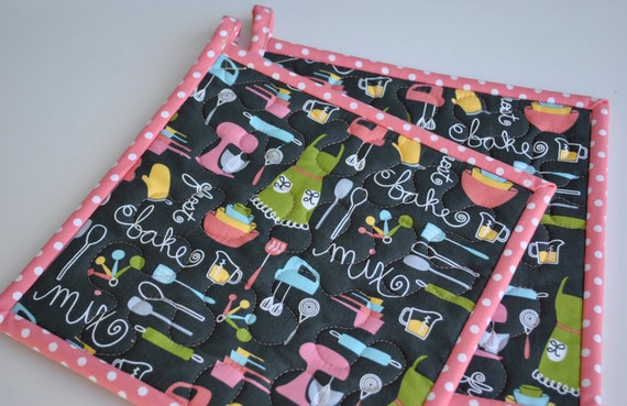 Handmade Potholders , Quilted Potholders, Contemporary Kitchen Potholders