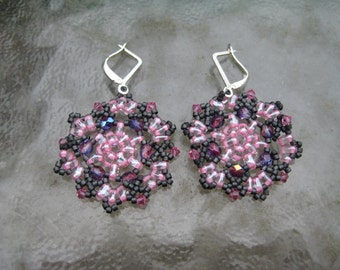 Pink and Grey Medallions Beaded Earrings by ME