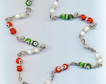 Evil Eye Necklace . Red White Green Necklace . Christmas Holiday Jewelry . Statement Necklace -Red& Green Christmas by enchantedbeas on Etsy
